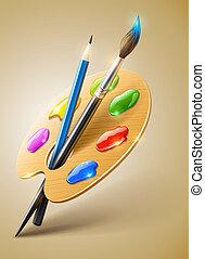 ołówek, paleta, sztuka, namalujcie szczotkę, narzędzia, rysunek