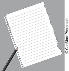 ołówek, papier, notatnik