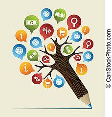 ołówek, pojęcie, studia, drzewo, praca badawcza