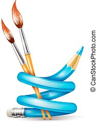 ołówek, pojęcie, sztuka, szczotki, kręcił, twórczy, rysunek