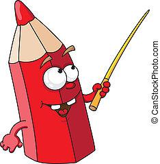 ołówek, szkoła, czerwony