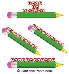 ołówek, szkoła, zieleń nazad, ilustracja