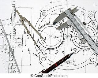 ołówek, techniczny, linia, busola, suwmiarka, rysunek