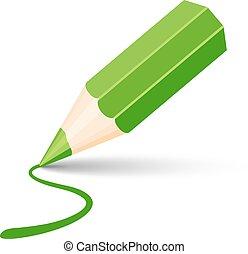 ołówek, zielony, ikona