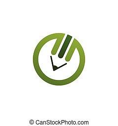 ołówek, zielony, logo