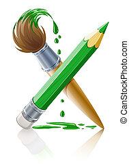 ołówek, zielony, szczotka, malować