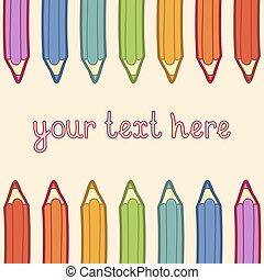 ołówki, barwny, text., ilustracja, wektor, miejsce