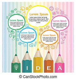 ołówki, barwny, twórczy, infographic, szablon, kreskówka