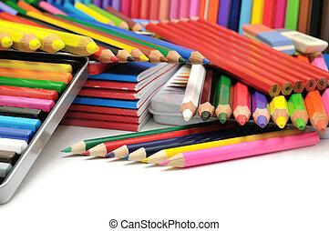 ołówki, barwny, zbiór