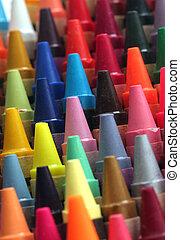 ołówki, hałasy, sztuka, barwny, attractively, wosk, oszałamiający, dzieci, kolor, kredka, inny, załatwiony, cyple, wystawa, kolumny, zrobienie
