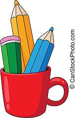 ołówki, kubek