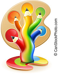 ołówki, pojęcie, sztuka, barwa, drzewo, twórczy