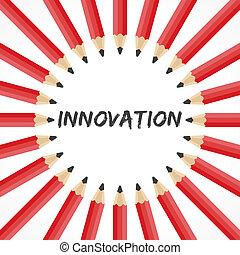 ołówki, słowo, innowacja