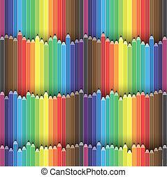 ołówki, wektor, załatwiony, barwny, ołówek, to, graphic., zawiera, widmo, ilustracja, seamless, kolor, background-, kredka, ikony, albo