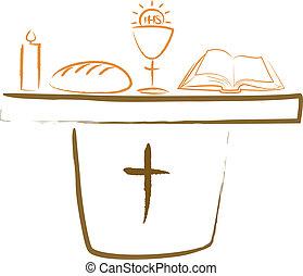 ołtarz, religiou, -, święty, komunia