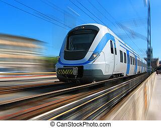 o dużej prędkości, ruch, pociąg, plama