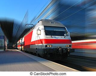 o dużej prędkości, ruch, pociąg