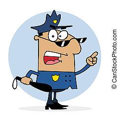 obłąkany, policja, hispanic, oficer