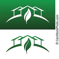 obaj, ikony pojęcia, stały, dom, odwracany, zielony