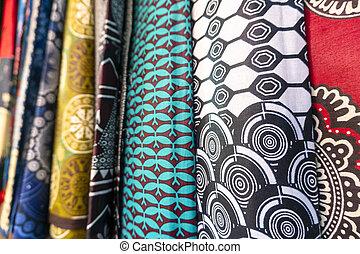 obfitość, tekstylia, barwny, afrykanin