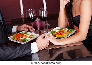 obiad, para, romantyk, restauracja