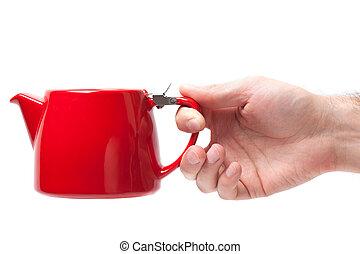 obiekt, odizolowany, ręka, tło., dzierżawa, biały, imbryk, czerwony, człowiek