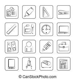 obiekty, handlowe biuro, ikony