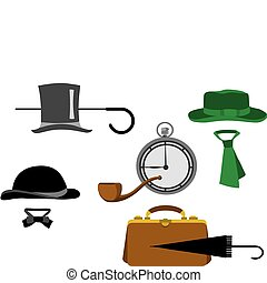 obiekty, komplet, dżentelmen, sylwetka