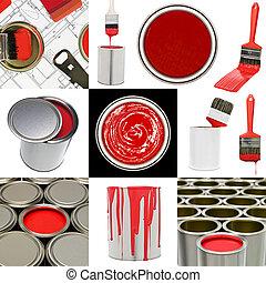 obiekty, malarstwo, czerwony