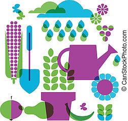 obiekty, ogród, szablon