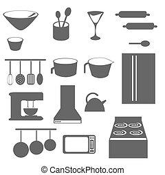 obiekty, sylwetka, kuchnia