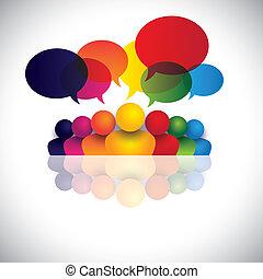 obietnica, biurowe ludzie, komunikacja, dyskusje, dzieci, personel, &, media, również, pracownik, spotkanie, dzieciaki, interakcja, konferencja, wyobrażenia, graficzny, mówiąc., mówiąc, wektor, towarzyski, albo