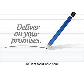 obietnice, rozwieszenie, wiadomość, ilustracja, twój