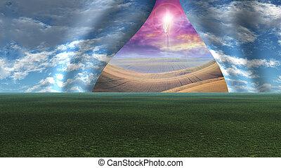 objawić, podobny, niebo, kurtyna, na boku, ciągnięty, chrystus