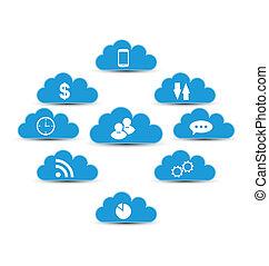 obliczanie, chmura, elementy, infographic, projektować, technologia