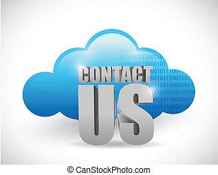 obliczanie, na, kontakt, projektować, ilustracja, chmura