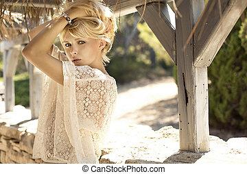 obraz, blondynka, fason, dziewczyna, czuciowy