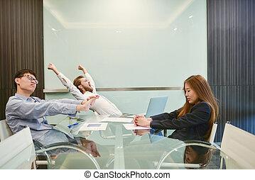 obraz, grupa, pokój, handlowy zaludniają, rozciąganie, czysty, spotkanie