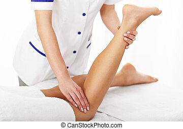 obraz, kobieta, terapia, posiadanie, noga