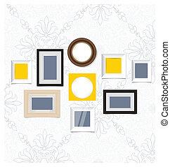 obraz, sztuka, fotografia, wall., układa, wektor, rocznik wina, eps10, ganek