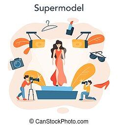obsadzać kobietę, concept., przedstawiać, wzór, fason, nowy, odzież