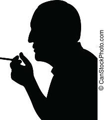 obsadzać palenie, wektor, sylwetka