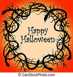 obszywanie galonem, kolczasty, dookoła, gałęzie, halloween, węże, suchy, wieniec