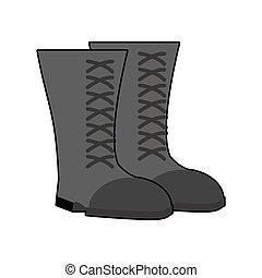 obuwie, armia, isolated., czyścibut, tło., czarnoskóry, obuwie, wojskowy, wojsko, biały