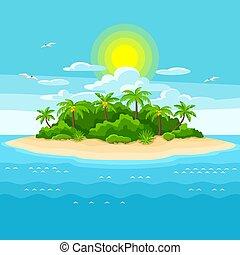 ocean., drzewa., podróż, ilustracja, ocean, tropikalny, dłoń, tło, wyspa, krajobraz