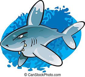 oceaniczny, biały, wskazówka, rysunek, rekin