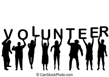 ochotnik, sylwetka, pojęcie, ludzie
