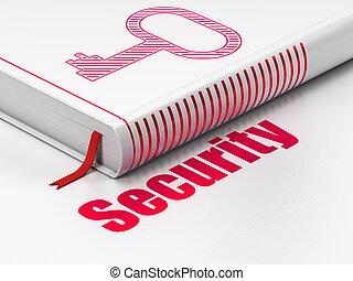 ochrona, książka, tło, klucz, biały, bezpieczeństwo, concept: