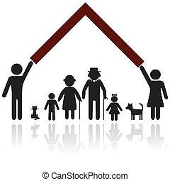 ochrona, sylwetka, rodzina, ludzie