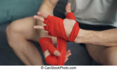 ochronny, strzał, oklaski, opakowanie, bandaże, closeup, siła robocza, nadgarstek, człowiek